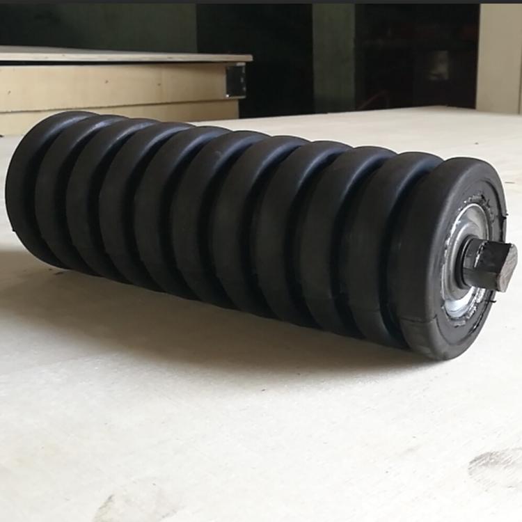 159mm diameter rubber covering impact idler roller